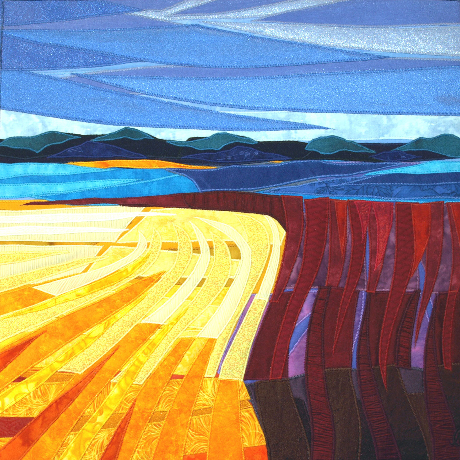 "Harvest, 2011, Fiber, 26 x 26"" Framed by Lisa & Lori Lubbesmeyer"