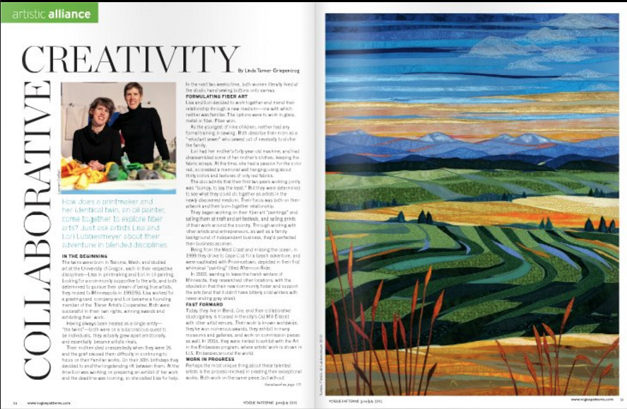 Collaborative Creativity article Vogue Patterns June/July 2012