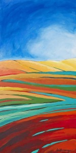 Red Field acrylic painting by Lisa & Lori Lubbesmeyer