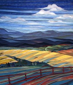 Clouds Over Fields And Fence - Fabric Art