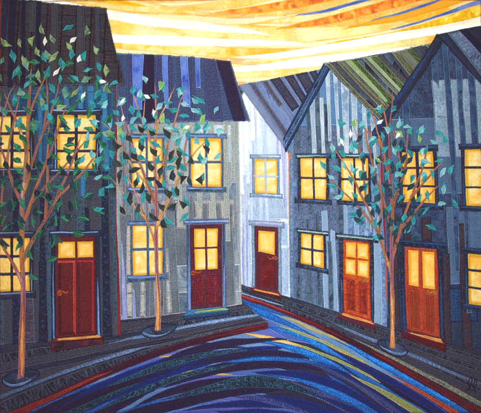Houses at Dusk - Fiber Art by Lisa & Lori Lubbesmeyer