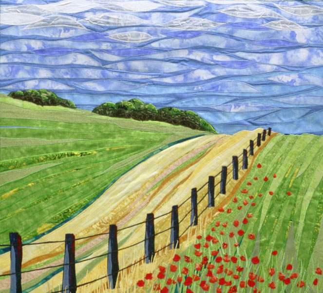 Fence and Poppies - Fabric Art