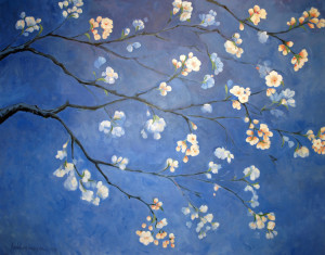 Lubbesmeyer, Cherry Blossoms, acrylic paint on canvas