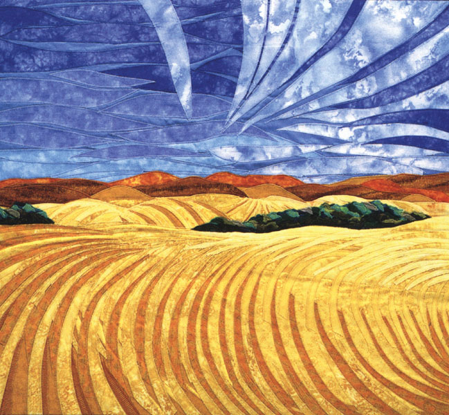 Wheat Field - fabric art by Lisa & Lori Lubbesmeyer