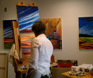 Lori at the easel, August 31, 2012.