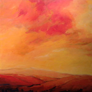 Evening reds landscape painting by Lisa & Lori Lubbesmeyer