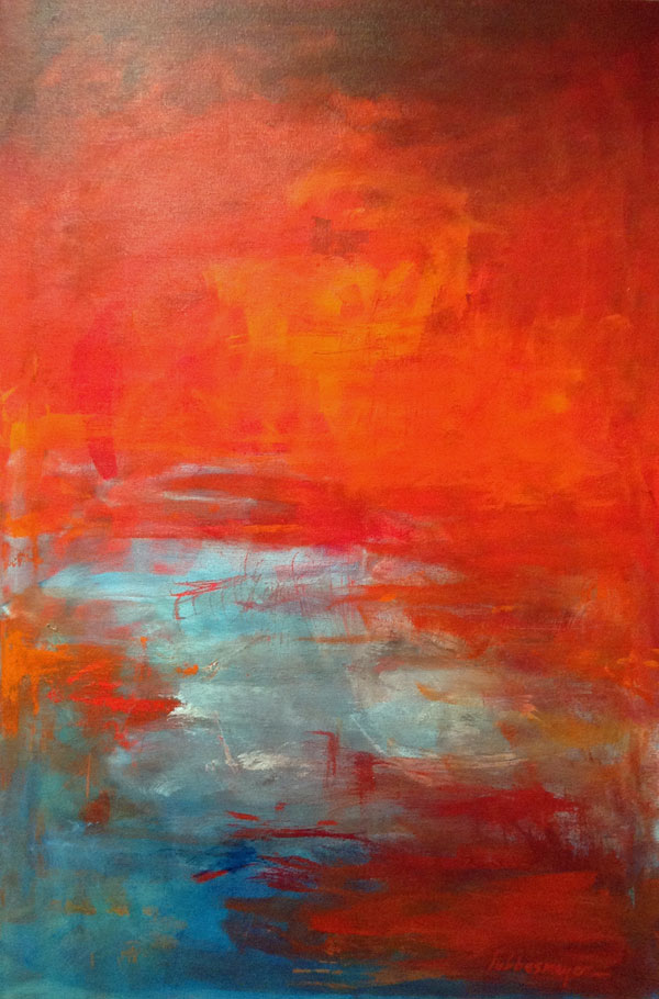 Abstract red and blue painting by Lisa & Lori Lubbesmeyer