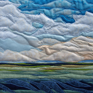 Tranquil is a fiber wall hanging created by twin collaborative artists, Lisa and Lori Lubbesmeyer.