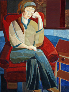 Woman in red chair, fiber, Lisa & Lori Lubbesmeyer