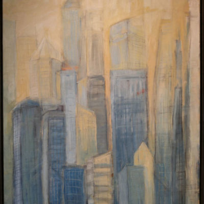 Yellow Cityscape Acrylic Painting by Lubbesmeyer