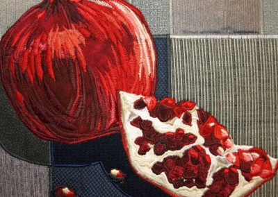 Pomegranate in fiber by Lisa & Lori Lubbesmeyer