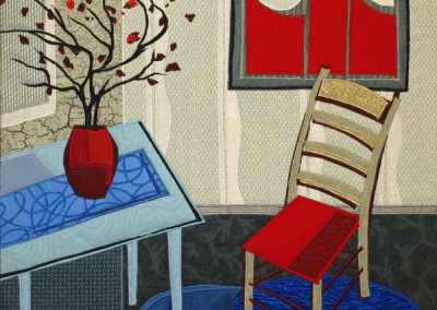 Lubbesmeyer Red Vase and Chair fiber painting