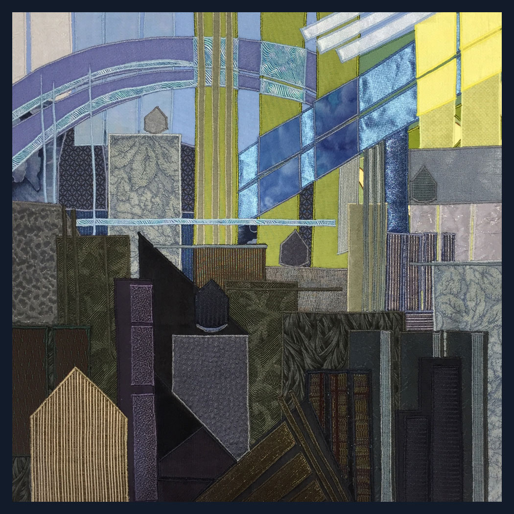 Water Towers in Blue, a fiber painting by Lubbesmeyer