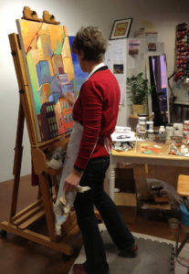 Lori painting at the Lubbesmeyer studio and gallery in Bend, OR