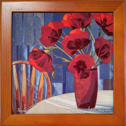 Lubbesmeyer Poppies framed ceramic tile