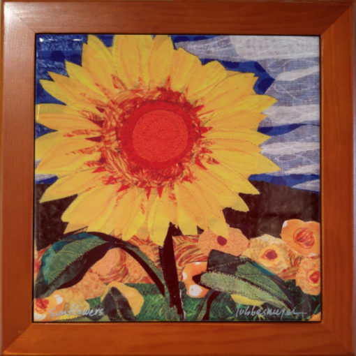 Lubbesmeyer Sunflowers framed ceramic tile